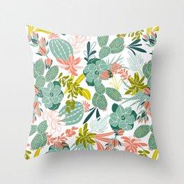 Succulent Garden White Throw Pillow