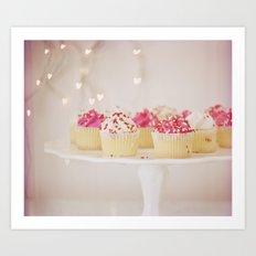 I Heart Cupcakes! Art Print