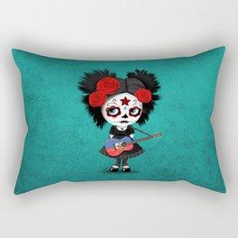 Day of the Dead Girl Playing Haitian Flag Guitar Rectangular Pillow