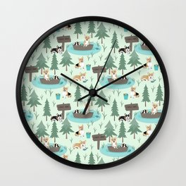 Majesty Pembroke - Happy Corgis Are Fishing In Forest Lake Wall Clock