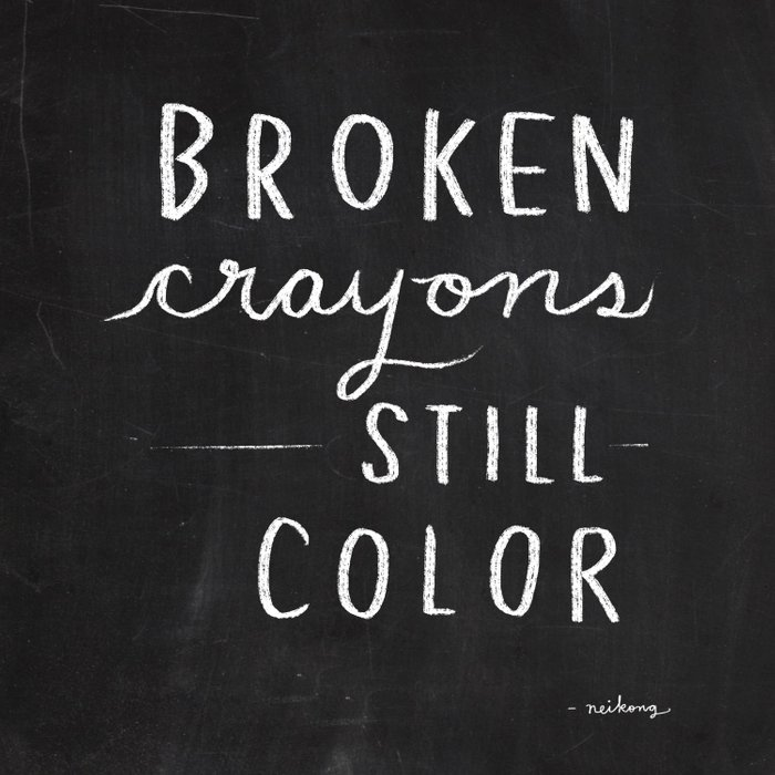 Broken Crayons Still Color Chalkboard Art Quote Duvet Cover By