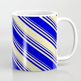 Pale Goldenrod & Blue Colored Stripes Pattern Coffee Mug