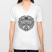 leo V-neck T-shirts featuring Leo by Mario Sayavedra