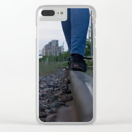 The train track-gravel equilibrium Clear iPhone Case
