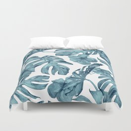Teal Blue Tropical Palm Leaves Flowers Duvet Cover
