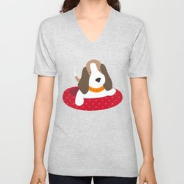 Beagle Love Beagle Laying in a Doggie Bed Unisex V-Neck