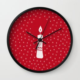 Christmas candle with sparkling stars on red Wall Clock