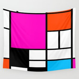 Mondrian Pink Wall Tapestry