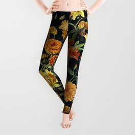 Vintage & Shabby Chic - Autumnal Flower Pattern On Blue Leggings