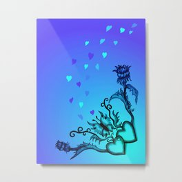 Heart with Butterfly and Flowers on blue and green Metal Print