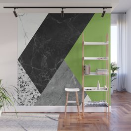 Black and White Marbles and Pantone Greenery Color Wall Mural