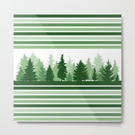 Christmas Evergreen Trees and Green Stripes Winter Metal Print