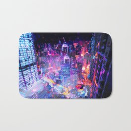 Cyberpunk City Bath Mat