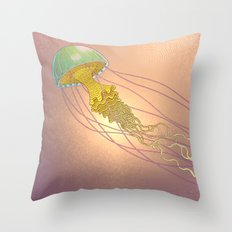 jellyfish-red Throw Pillow