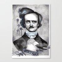 edgar allan poe Canvas Prints featuring Edgar Allan Poe by JsuauG