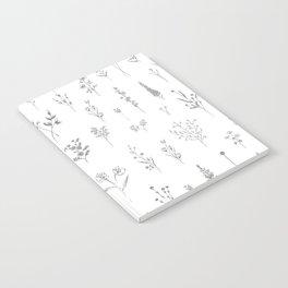 Wildflowers - Grey Flowers Notebook