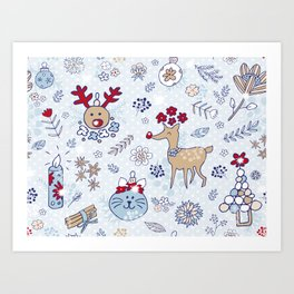 bright blue winter floral pattern Art Print