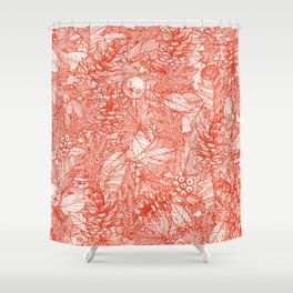 forest floor fire orange ivory Shower Curtain