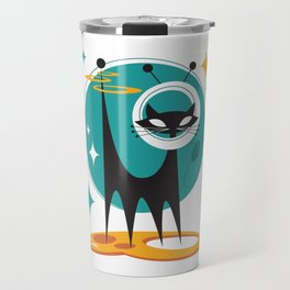 Atomic Space Cat Mid Century Modern Art Scooter Travel Mug