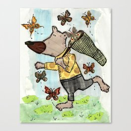 Bear catching a butterfly Canvas Print