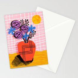 Just Kidding - memphis retro 80s throwback modern still life abstract floral flower vase Stationery Cards