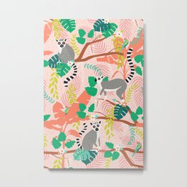 Lemurs in Pink Jungle Metal Print