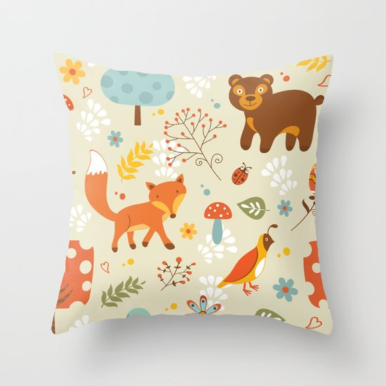 Woodland pattern Throw Pillow