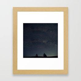 Starry night over the trees Framed Art Print