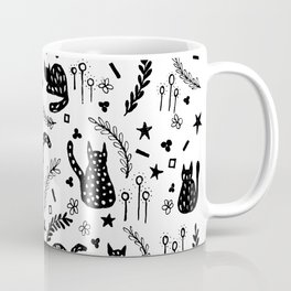 Sketchy Black Cat Pattern Coffee Mug