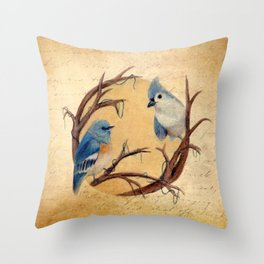 Vintage Bird Print Throw Pillow