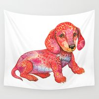 dachshund Wall Tapestries featuring Mini Dachshund  by Ola Liola