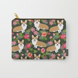 Welsh Corgi hawaiian print pattern florals tropical summer dog breed pet portrait Carry-All Pouch