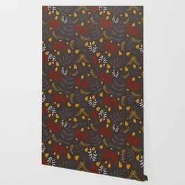 Autumn leaves and acorns - brown and ochre Wallpaper