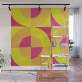 Geometric abstract hand painted neon pink yellow pattern Wall Mural