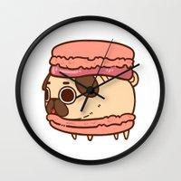 macaron Wall Clocks featuring Puglie Macaron by Puglie Pug