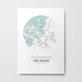 Abu Dhabi City Map with GPS Coordinates Metal Print