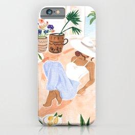 Woman Sitting by the Window Art Print - Sabina Fenn Illustration - Feminine Gouache Tropical Portrai iPhone Case