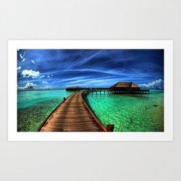 Stilt Bungalows In Mauritius Holiday Resort Ultra HD Art Print