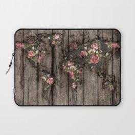 Wood Flowers Mapamundi Laptop Sleeve