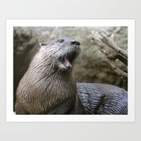 otter Art Prints featuring Otter by Veronica Ventress