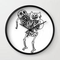 finn and jake Wall Clocks featuring Finn & Jake Bones by Will Blood