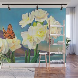 A Morning Greeting From Narcissus Flowers Wall Mural