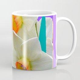 WHITE-GOLD NARCISSUS FLOWERS LAVENDER GARDEN Coffee Mug