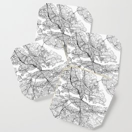 Stockholm White Map Coaster