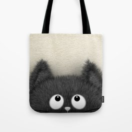Cute Fluffy Black cat peaking out Tote Bag