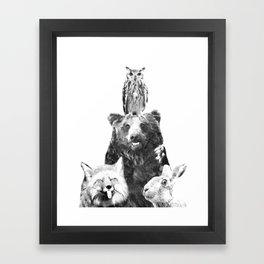 Black and White Woodland Animals Framed Art Print