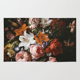 Rachel Ruysch - Flowers In A Glass Vase Rug