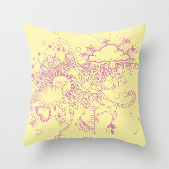 Throw Pillow Doodle : doodle Throw Pillow by Duru Eksioglu Society6