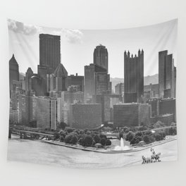 Pittsburgh City Skyline Point State Park Fountain Black White Photography Panoramic Print Wall Tapestry