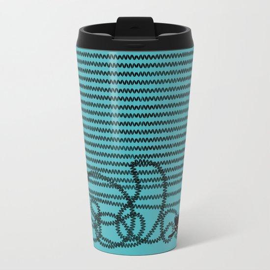 Unravel (in Blue) Metal Travel Mug